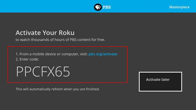 PBS activate on Roku